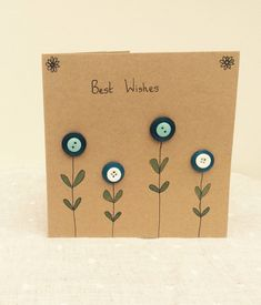 Blue button, floral, kraft card-Best Wishes by KookyBurrow on Etsy https://www.etsy.com/uk/listing/270665769/blue-button-floral-kraft-card-best