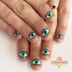 Eyes nail art by I Scream Nails, Melbourne, Australia Nail Salon Design, Nail Art Salon, Shellac Nail Art, Best Acrylic Nails, Hippie Nails, Hippie Nail Art, Cosmic Nails, Evil Eye Nails, Mens Nails