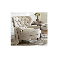 Pottery Barn Cardiff Upholstered Tufted Armchair, Polyester Wrapped... (20 540 UAH) ❤ liked on Polyvore featuring home, furniture, chairs, accent chairs, oatmeal, nailhead chair, upholstered accent chairs, upholstered chair, tufted armchair and fabric arm chair