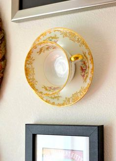 Upcycle teacups into wall decor at Tattooed Martha