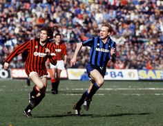 Karl-Heinz Rummenigge(Inter) and Franco Baresi(Milan) in action during the Inter v Milan (1-2) league match at the San Siro, 28th October 1984.