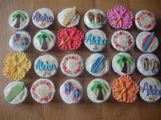 Luau cupcakes hawaiian, hibiscus flower, palm tree, surf boards, lei, sandals, flip flops