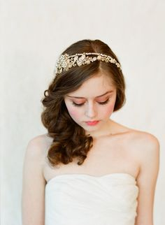 Double band golden tiara - Style #147 - Ready to Ship Gold only    This style in gold is a ready to ship piece (silver is made to order) .    One of our bestsellers. The prettiest topper of numerous beads and rhinestones with a unique double band design.  - double banded headband    - many wired rhinestones and beads  - gold, white and ivory tones