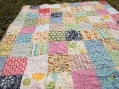 patchwork quilt squares | Plum and June: The First Blog Hop News and a Simple Patchwork Quilt;  this could be in ANY room!