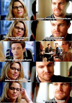 They both talked to Barry about their ''feelings'' #Olicity #Flarrow <3