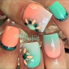 #coral #mint #acrylicnails #coralnails #mintnails #acrylicombre #diamonds