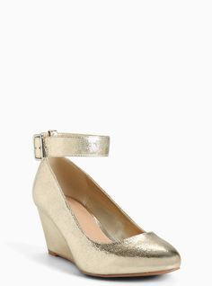 Metallic Ankle Strap Mini Wedges (Wide Width), GOLD