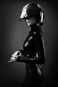 #blackandwhite   #motorcycle   #babe  in #black   #leather  and #helmet   #LetsGetWordy