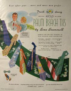 Mens 1950 Beau Brummell Palm Beach Ties Vintage Ad