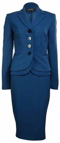 *Alvina This shape might be good on Barbara. We'd have to build it. Women's Business Suit Skirt & Jacket Set in Blue Jay. Business Attire, Business Fashion, Business Women, 60 Fashion, Modest Fashion, Fashion Tips, Work Suits, Career Wear, Professional Attire