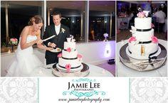Naples Beach Hotel | Naples Wedding Photographer | Jamie Lee Photography | Cake Cutting | Black White and Pink Wedding Cake | Ella's Cakes