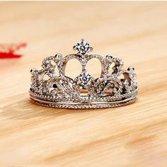 Elegant NSCD Diamond Decorated Crown Women's Ring-USD$127.95