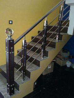 Steel Grill Design, Steel Railing Design, Staircase Railing Design, Grill Door Design, Balcony Railing Design, Stainless Steel Stair Railing, Steel Handrail, Steel Stairs, Glass Stairs Design