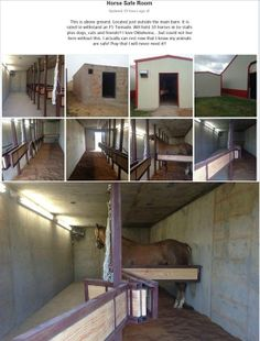 Safe room for horses!!!!!!! Love this idea. Though I hope to never live anywhere this might be needed, would definitely be a lifesaver if it came to it!