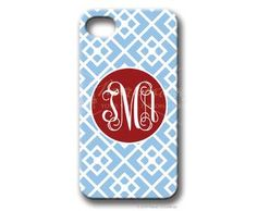 $49.95 Baby Blue/Red Argyle Personalized iphone cover from Paper Concierge