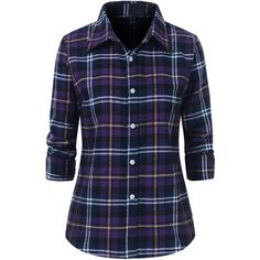 Benibos Women's Check Flannel Plaid Shirt ($16) ❤ liked on Polyvore featuring tops, blue shirt, checked shirt, tartan flannel shirt, plaid shirts and blue checkered shirt