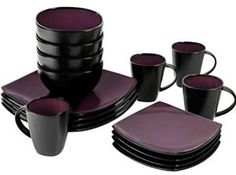Amazon.com | 16 Piece Dinnerware Set By Gibson Home. This Soho Lounge Square Dinnerware Set Is an Excellent Choice for Modern Family. It's Simple, Yet Elegant, Just Like Restaurant Dinnerware. (Purple): Dinnerware Sets