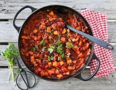 Chili sin carne (chili uten kjøtt) med søtpotet