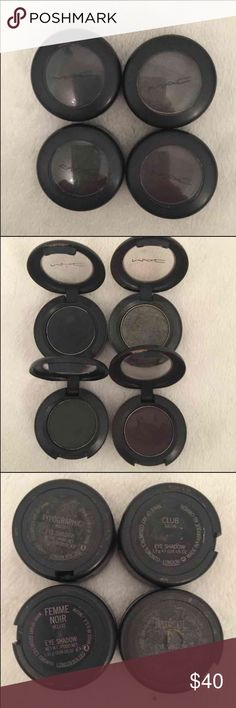 MAC Lot / bundle eye shadows Typographics - black charcoal color used but still has lots of life left.  Femme Noir - dark olive green. Only used twice. Club - beautiful slight shimmer color. Used 8 times.  Intoxicate - dark purple. Used but still has lots of life left.   Cleaning up my makeup case and just trying to get rid of stuff. As you can see from my listings. Honestly don't wear much makeup anymore cause am stay at home mom.   All authentic. Well cared for. MAC Cosmetics Makeup…