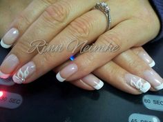Bridal nails with flower Cnd Shellac, Bridal Nails, Natural Nails, Nail Art, 3d, Flower, Beauty, Bride Nails, Cosmetology