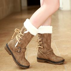 Wholesale Leg Boots - Buy 2013 Free Shipping Autumn And Winter Snow Fashion Vintage Medium-leg Boots Lacing Thermal Cotton-padded ShoesT2030, $45.0 | DHgate