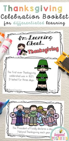 Thanksgiving celebration booklet fill of fun facts and coloring in images for students. Classroom activities for Thanksgiving in pre-k, kindergarten, first grade, second grade, third grade, and fourth grade. #thanksgiving #tpt #activities #ideas #teaching #classroom