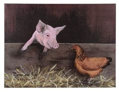 """Charming Country Primative Decor: """"Bacon and Eggs"""" Chicken and Pig Friends Canvas Wall Art By Billy Jacobs *** GREAT GIFT **** Ohio Wholesale http://www.amazon.com/dp/B015WYFWEM/ref=cm_sw_r_pi_dp_p-iwwb0RVJT90"""