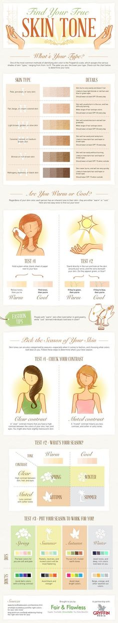 How to Find Your Skin Tone   The Best Chart & Makeup Tips & Tricks by Makeup Tutorials http://makeuptutorials.com/makeup-tutorials-beauty-tips/