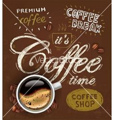 Poster cup of coffee vector - by bioraven on VectorStock®