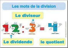 affiche division : le vocabulaire