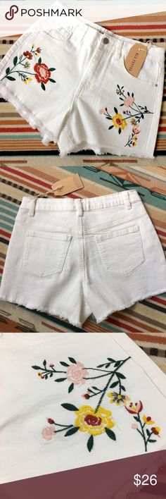 """1hr Sale🔥Embroidered Stretch Jean Shorts NWT Festival Floral Embroidered  Stretch Jean Shorts by Blu Pepper.  Retail $49.    SMALL. W13"""" L11"""" Hip 17"""" Front Rise 10 3/4"""".     MEDIUM W14 L12"""" Hip 17 1/2 Front Rise 11"""".     LARGE W15"""" L12"""" Hip 18"""" Front Rise 11"""".  Inseam 1 1/2-2"""". 🚫no trades pls Blu Pepper Shorts Jean Shorts"""