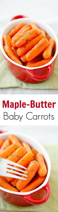#thanksgiving #side Maple-butter roasted baby carrots – tender and soft carrots roasted with sweet maple-butter. Great and healthy side dish for the entire family!!   rasamalaysia.com