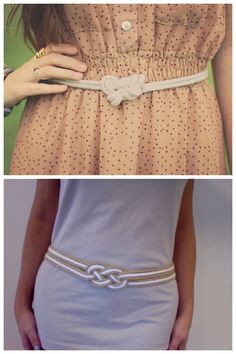 Two DIY Rope Knot Belt Tutorials. Top Photo: tutorial by Sincerely, Kinsey here (snap closure), Bottom Photo: tutorial by inspiration & realisation here. (ring and clasp closure, knot instructions on her site).
