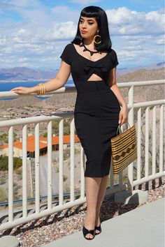 Wore a sexy black wiggle dress by for a fun day at Boulder City. It goes so well with my new necklace from… Pin Up Outfits, Cute Outfits, Work Outfits, Aesthetic Fashion, Aesthetic Clothes, Black Pin Up, Lil Black, Dope Fashion, Street Fashion