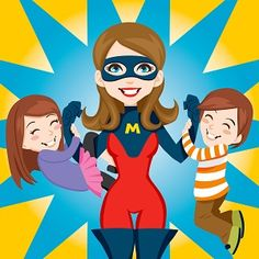 A cartoon mom with superhero mask holding two kids on either arm.
