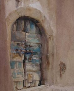 An Old Doorway, Italy  Watercolour : 26 x 20 cm Signed