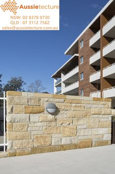 Aussietecture natural stone supplier has a unique range natural stone products for walling, flooring & landscaping. Sandstone Cladding, Sandstone Wall, House Exterior Color Schemes, Exterior Colors, Natural Stone Wall, Natural Stones, Landscape Design, Garden Design, Stone Supplier