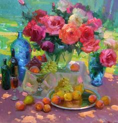 """Roses and fruit""  By Ovanes Berbarian"