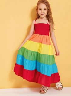 To find out about the Toddler Girls Rainbow Shirred Cami Dress at SHEIN, part of our latest Toddler Girl Dresses ready to shop online today! Toddler Girl Dresses, Girls Dresses, Toddler Girls, The Dress, Baby Dress, Shirred Dress, Dress Patterns, Fit And Flare, Designer Dresses