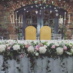 Posy Barn low flower arrangement altar/top table
