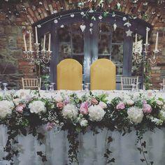 Posy Barn low flower arrangement altar/top table
