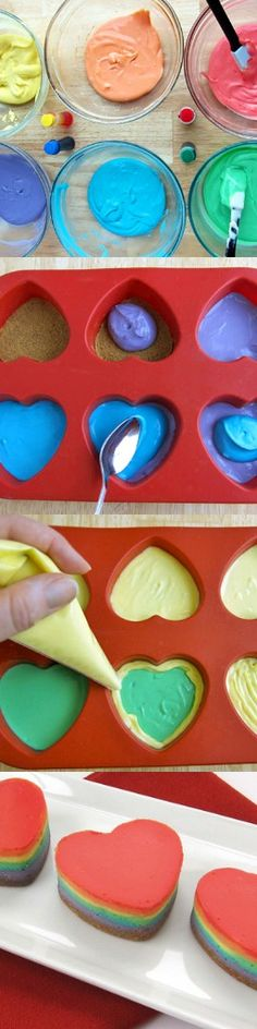 Mini Rainbow Cheesecake Hearts -- could make something similar with my Ohio State Block O molds!