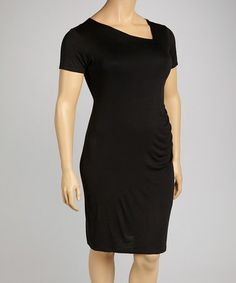 Another great find on #zulily! Black Ruched Sheath Dress - Plus #zulilyfinds