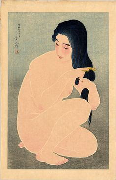 """""""Combing Her Hair"""" by Kotondo, Torii 1929"""