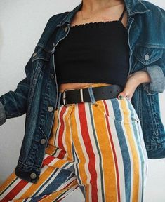 》》》 Cute trendy outfit inspiration with colorful striped pants, black crop top, and blue denim jean jacket Mode Outfits, Retro Outfits, Trendy Outfits, Vintage Outfits, Summer Outfits, Swaggy Outfits, Mode Choc, 90s Fashion, Fashion Outfits