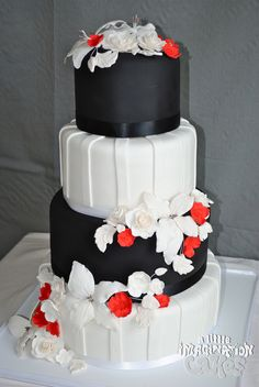 Black White and Red Wedding Cake with Gumpaste Sugar Roses and Lillies detail (by A Little Imagination Cakes)