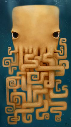 Creepy looking little digital painting of an octopus. the flow of this is very well balanced, and the maze like tentacles are very intricate. It also has a soft glow/blur around the edges.