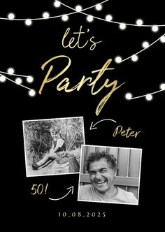 Birthday invitation with photos and fairy lights - invitation cards . - Birthday invitation with photos and fairy lights – invitation cards - Wedding Invitations Elegantes, Streamers, Fairy Lights, Pin Collection, Invitation Cards, Birthday Invitations, Peppermint, Balloons, Pure Products