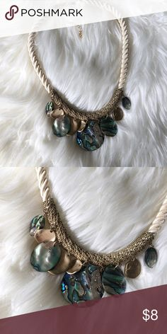 Mother of Pearl and Rope Statement Necklace Nautical inspired mother of pearl pendant necklace is the perfect finishing touch with a striped maxi dress, or with a white crochet sweater and linen pants. Worn only once and stored with love! Tommy Bahama Jewelry Necklaces