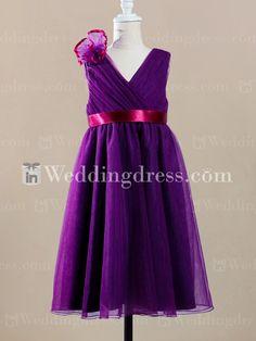 Tea Length Tulle Flower Girl Dress FL222 $148.99 Flower Girl Dresses